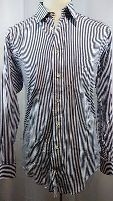 5bc79409ee64f9 Burberrys of London Vintage Blue White Striped Mens Button Down Shirt 15  1/2-34