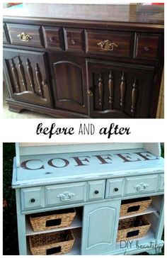 Outdated Hutch to Coffee Bar..a total transformation! DIY beautify