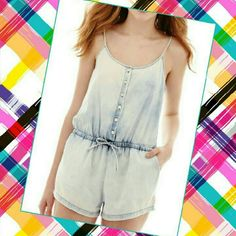 ARIZONA Romper - Stonewashed NWT! Super cute! Spaghetti straps are adjustable. Button down front with faux draw-string. Please use the offer button for all offers. Feel free to bundle for a 10% discount. Sorry loves, no trades. Arizona Jean Company Pants Jumpsuits & Rompers