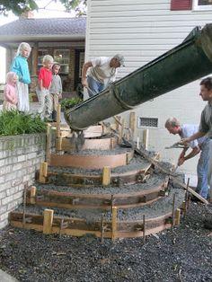 Home Joys: Finished Project - Stamped Concrete Steps Concrete Front Steps, Brick Steps, Concrete Porch, Concrete Stairs, Deck Stairs, Front Porch Steps, Patio Steps, Garden Steps, Railing Design