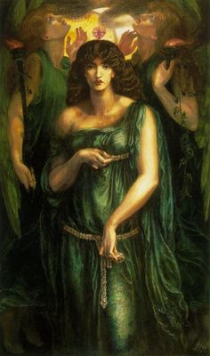 Astarte was a fertility goddess of sexuality, and war. Her symbols were the lion, horse, sphinx, dove, and a star within a circle indicating the planet Venus or deified evening star. Astarte Syriaca: 1877 by Dante Gabriel Rossetti (Manchester City Art Galleries, UK) - Pre-Raphaelite Brotherhood
