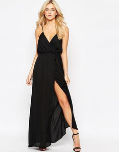 Love Plunge Wrap Front Maxi Dress With Tie, about $74.12 CAD from ASOS