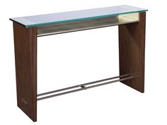 Granville Console The strength of this piece resides partly in its design with tapered side panels, linked by an upper stretcher as shelf surmounted by a transparent top, a lower stretcher made of two parallel bars with a visible fixation to the sides. The materials also enhance the design, with a contrast of dark wood, transparent glass, and silver leaf wood and nickel.  A narrow, light console, easy to mingle with various styles.