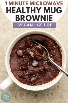 Learn how to make the best single serving Vegan Mug Brownie made with healthy ingredients in just 1 minute! Indulgent, fudgy and so delicious- this recipe is also gluten free, oil free and refined sugar free. Vegan Mug Brownie Recipe, Mug Brownie Recipes, Gluten Free Brownie In A Mug, Vegan Dessert Recipes, Gluten Free Desserts, Snack Recipes, Healthy Mug Recipes, Healthy Baking, Baking Recipes