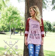 e798a7392 Faith is Not Hoping God Can It s Knowing He Will Sleeve with Maroon Lace  Sleeve Accent - Southern Grace Outfitters