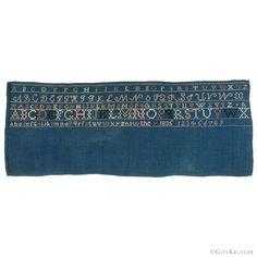 RARE marking sampler worked on indigo dyed linen. Uppercase Alphabet, Lowercase A, Glee, Primitive, Needlework, Indigo, Stitch, Collection, Color
