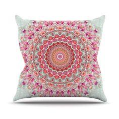 "Iris Lehnhardt ""Summer Lace III"" Circle Pink Green Throw Pillow, 20"" x 20"" - Outlet Item from Kess InHouse."