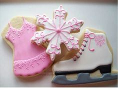 Ice Skater's cookies by ButtercupCookie.com The snowflake and ice-skater are super.