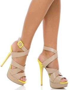 Beige and yellow sexy high heels