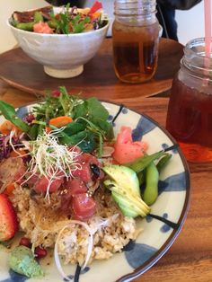 SHISHINORI - healthy ahi poke bowl with brown rice, salad, edamame beans, and mango ice tea. Mango Iced Tea, Ahi Poke, Edamame Beans, Poke Bowl, Rice Salad, Brown Rice, Vancouver, Healthy Food, Ethnic Recipes