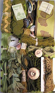 crazy quilting embellishments | ... Crazy Quilt Embellishment Assortment - Green, Olive, Crazy Quilt