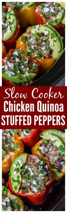 Chicken Quinoa Crock Pot Stuffed Peppers. Healthy, freezer friendly, and no prep work required! Recipe at wellplated.com @wellplated #slowcooker #glutenfree #crockpot