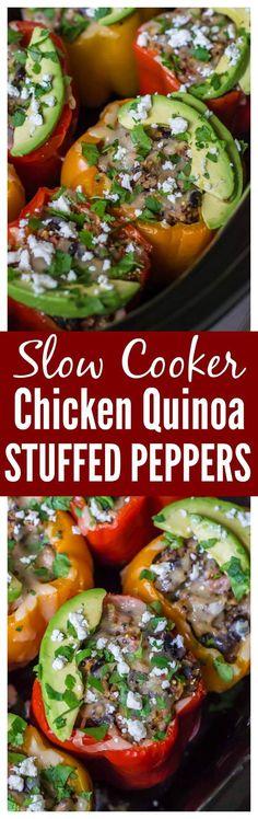 Chicken Quinoa Crock Pot Stuffed Peppers. Healthy, freezer friendly, and no prep work required! Recipe at wellplated.com @wellplated #slowcooker #glutenfree #crockpot