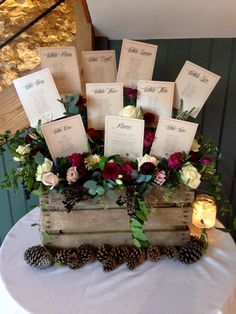 Wooden crate box for wedding seating plan / Custom rustic table seating plan / Rustic wood box with personalized calligraphic script Fall Wedding, Diy Wedding, Rustic Wedding, Wedding Ideas, Wedding Table Planner, Wedding Planning, Tableau Marriage, Table Seating Chart, Seating Plan Wedding