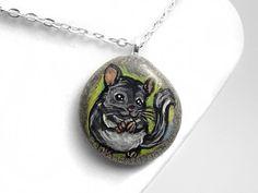 Chinchilla Necklace Portrait Pendant Pet Loss by rainbowofcrazy
