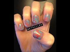 Marbleized nails using saran wrap