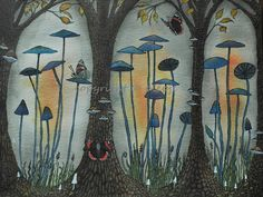 Blue mushrooms.