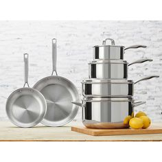 Henckels International Tri-ply Stainless-steel Cookware Set Tri-ply stainless-steel and aluminum construction Riveted, stay-cool handles Stainless-steel lids Safe for all cooktops, including induction Oven and broiler safe Cast Iron Cookware, Cookware Set, Acidic Foods, Fish And Meat, Costco, New Kitchen, Kitchen Shop, Kitchen Items