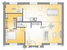 Plans de maison : RDC du modèle City : maison moderne à étage de 163m2. 4 chambres + 1 suite parentale #Maison #contemporaine #moderne #Plans #MaisonsFranceConfort 2 sem