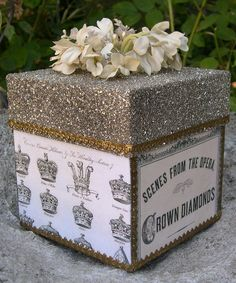 put your gift in a box topped off with glass glitter!  what could be prettier???