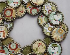 Beer Bottle Cap Christmas Wreath