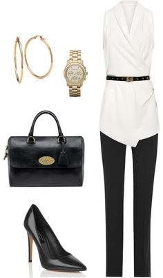 """Black trousers + white"" by julianawagner on Polyvore"