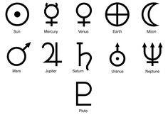 Solar System Symbols: The for the planets, dwarf planet Pluto, Moon and Sun (along with the symbols for the zodiac constellations) were developed for use in both astronomy and astrology.
