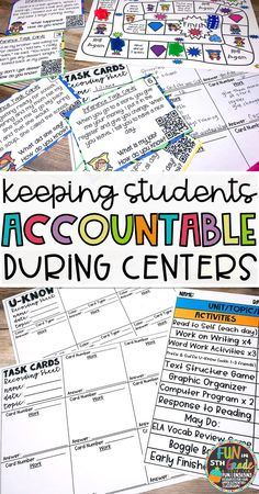 Check out this post for strategies to help you hold students more accountable during center time to make them work in your classroom. Recording sheets included to use with task cards or U-Know games! #centertime #upperelementary #upperelementarycenters  via @funin5thgrade