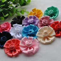 26-130pcs-Mix-Satin-Ribbon-Flowers-Bows-Rose-Craft-Sewing-Appliques-38mm-RB148