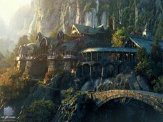 Rivendell, by Yanick Dusseault (DUSSO), Visual Artist, Matte Painter, Conceptual Artist, Illustrator, Canada - this is so beautiful and intricate. Wish I could draw or paint like this.