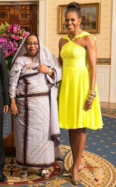 Sunny Disposition from Michelle Obama's Best Looks  FLOTUS goes for a sunny yellow Prabal Gurung frock at the U.S. African Leaders Summit.