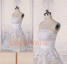 Weißer Spitze Applique Perlen kurze Prom Kleider, Brautjungfer Kleider 2015, Homecoming Kleider, Abendkleid, Hochzeit Party Kleider, Party Kleid