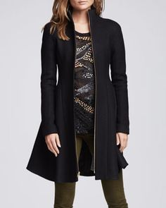 Nanette Lepore | Skyscape Fit & Flare Wool Coat