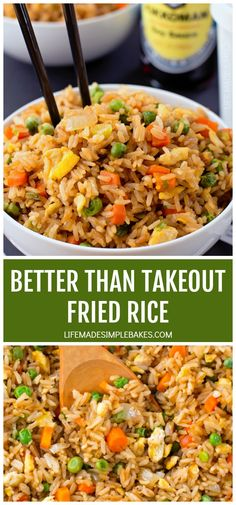 There's no need to order out! This better than takeout fried rice is ready to go in just 20 minutes! There's no need to order out! This better than takeout fried rice is ready to go in just 20 minutes! Quick Fried Rice, Homemade Fried Rice, Healthy Fried Rice, Fried Brown Rice, Easy Rice Recipes, Asian Recipes, Rice Dishes, Food Dishes, Rice Bowls
