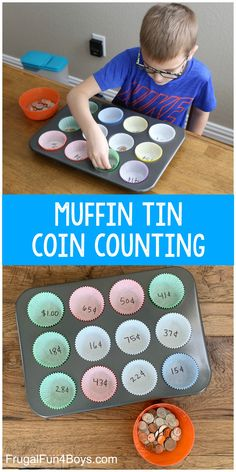 Muffin Tin Coin Counting Activity - awesome math activity for kidsYou can find Math activities and more on our website.Muffin Tin Coin Counting Activity - awesome math activity f. Money Activities, Math Activities For Kids, Math For Kids, Preschool Learning, Teaching Kids, Spy Kids, Kids Fun, Clock Learning For Kids, Learning Activities For Kids