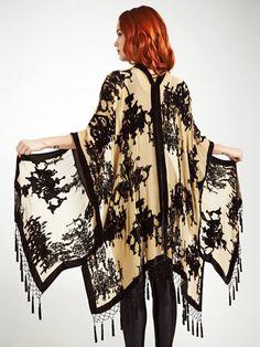 Velvet Fringe Kimono Antique Chic Classic. Fringe Kimono, Kimono Top, Fishnet, Black Velvet, Bohemian, Antiques, Chic, Classic, How To Wear