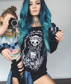 COFFEE SKELETON Does this Coffee Make Me Look Alive Coffee Mama Sweatshirt Off the Shoulder /Coffee lover halloween slouchy sweatshirt Charity Grace, Maquillage Halloween, Halloween Makeup, Halloween Costumes, Slouchy Tee, Punk, Mom Style, Colorful Fashion, Hair Beauty