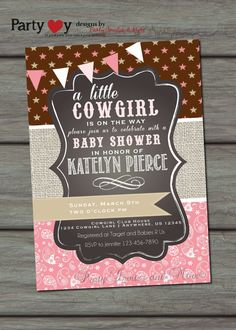 Cowgirl Baby Shower Invitation Paisley Baby by PartyInvitesAndMore
