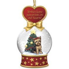 Yorkie Dog Collectibles | Yorkie Snow Globe Ornaments - The Danbury Mint