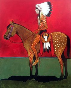 """An intertwining of my Indian culture with contemporary art expression has given me a greater insight concerning my art.  I hope to accomplish something for the American Indian and at the same time achieve personal satisfaction in a creative statement though my art."" -Kevin Red Star #art #artoftheday #native #nativeamerican #horse http://ift.tt/2eGy3fo"