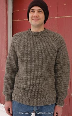 ABC Knitting Patterns - Men's Raglan Woodsman Sweater free pattern