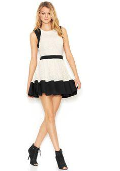 RACHEL Rachel Roy Sleeveless Mixed-Media Flared Dress #rachel #roy #white #black #flare #dress #cocktail #sale