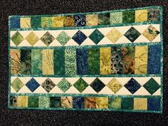 "Table Runner, Machine Quilted, 16.5"" x 26"", Blue and Green Batik Fabric  