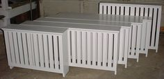 Custom Solid Wood: A set of wooden radiator covers painted to match their trim color.