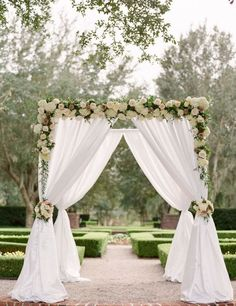Photographer: Rach Loves Troy; Stunning outdoor wedding ceremony with chic white floral design;