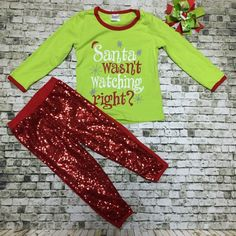 50b0844049c Girls Christmas Outfit - Girls Santa Outfit - Girls Sequin Pants Christmas  Pjs