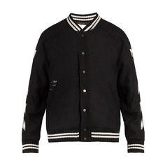 Off-White Logo-print wool-blend bomber jacket (18,340 MXN) ❤ liked on Polyvore featuring men's fashion, men's clothing, men's outerwear, men's jackets, jackets, men, tops, black, mens blouson jacket and mens urban jackets