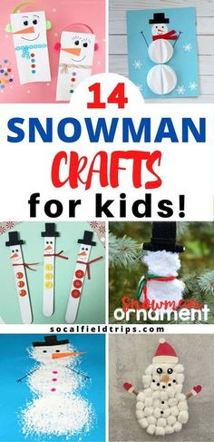 Check out these 14 Easy Snowman Crafts for PreschooI! I mean, who doesn't love an adorable little snowman!  There's something so cute about a little guy with a corncob pipe, a button nose and two eyes made of coal. There's all sorts of snowman crafts to suit everyone, as well as some fun ones from an easy pinecone snowman to a paper snowman ornament. | Winter Crafts for Kids