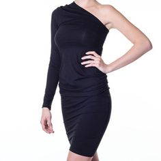 Reeva One-Shoulder Dress Black, $45, now featured on Fab.