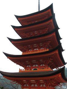 Pagoda in Itsukushima-jinja, Miyajima, Hatsukaichi, Hiroshima, Japan
